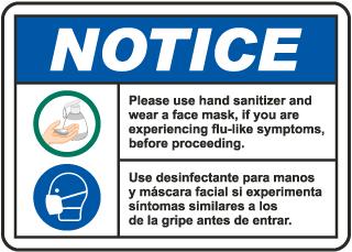 Bilingual Notice Use Hand Sanitizer Wear Face Mask Sign