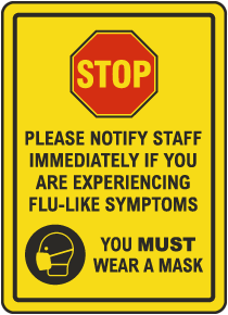 Stop Notify Staff Wear Mask Sign