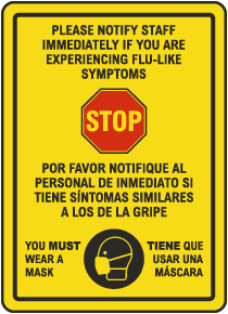 Bilingual Stop Notify Staff Wear Mask Sign