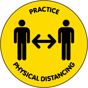 Practice Physical Distancing Floor Sign