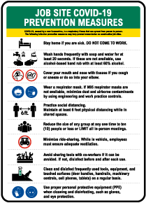 Job Site COVID-19 Prevention Measures Sign