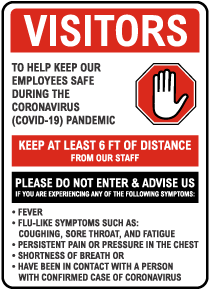 Visitors Infection Control Sign