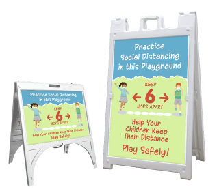 Playground Social Distancing Sandwich Board Sign