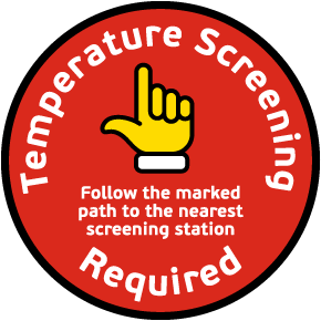 Temperature Screening Required Follow Path To Station Floor Sign