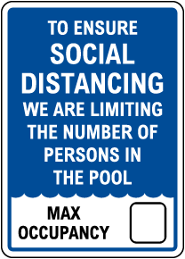 Social Distancing Pool Capacity Sign