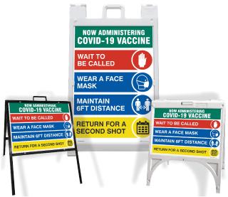 COVID-19 Vaccine Protocols Sandwich Board Sign