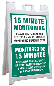 Bilingual 15 Minute Monitoring Sandwich Board Sign