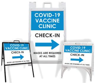 COVID-19 Vaccine Clinic Check-In Right Arrow Sandwich Board Sign