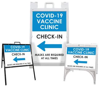 COVID-19 Vaccine Clinic Check-In Left Arrow Sandwich Board Sign