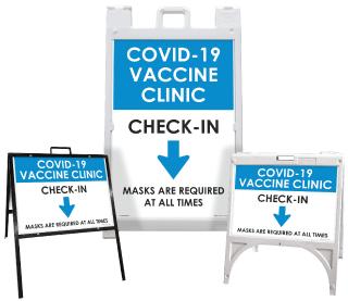 COVID-19 Vaccine Clinic Check-In Down Arrow Sandwich Board Sign