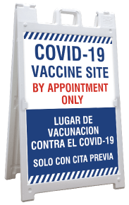 Bilingual COVID-19 Vaccine Site Sandwich Board Sign