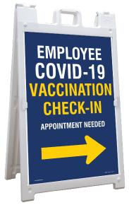 Employee COVID-19 Vaccination Check-In Right Arrow Sandwich Board Sign