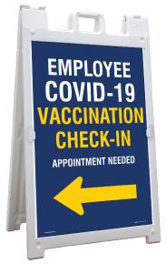 Employee COVID-19 Vaccination Check-In Left Arrow Sandwich Board Sign