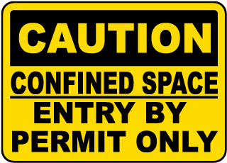 Caution Entry By Permit Only Label