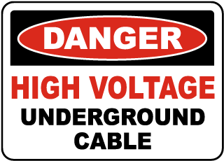 High Voltage Cable Underground Sign