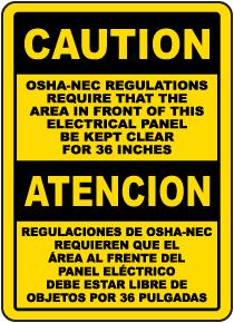 Bilingual OSHA-NEC Regulations Sign