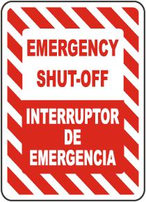 Bilingual Emergency Shut-Off Sign