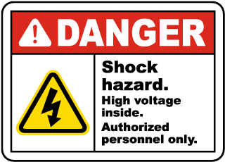 Shock Hazard High Voltage Inside Sign