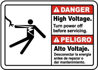 Bilingual Danger High Voltage Turn Off Power Sign