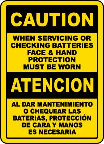 Bilingual Caution When Servicing Batteries Sign