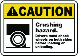 Crushing Hazard Chock Wheels Sign