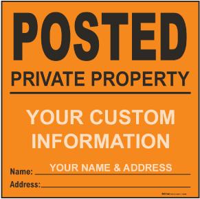Orange Custom Posted Sign