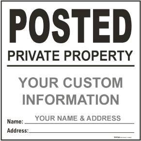 White Custom Posted Sign