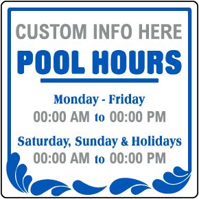 Custom Pool Hours Sign