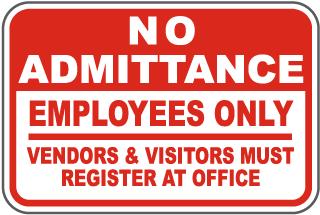 Visitors Register At Office Sign