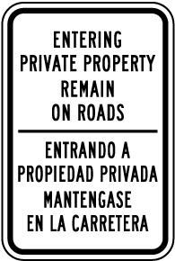Bilingual Colorado Private Property Access Road Sign