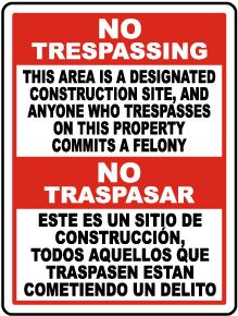 Bilingual Florida Designated Construction Site No Trespassing Sign