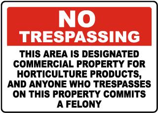 Florida Designated Horticulture Property No Trespassing Sign