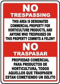Bilingual Florida Designated Horticulture Property No Trespassing Sign