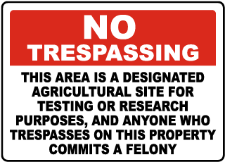 Florida Designated Agricultural Site for Testing or Research Sign