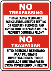 Bilingual Florida Designated Agricultural Site for Testing or Research Sign