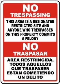 Bilingual Florida Domestic Violence Center No Trespassing Sign