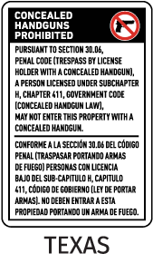 Texas 30.06 Bilingual No Concealed Carry Sign