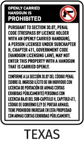 Texas 30.07 Bilingual No Open Carry Sign