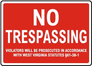 West Virginia No Trespassing Sign