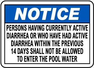 Diarrhea Pool Sign