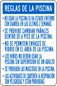 Texas Spanish Pool Rules Sign