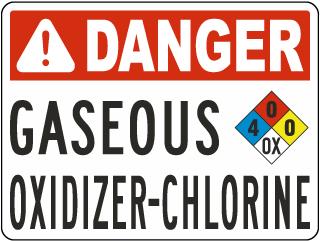 Danger Gaseous Oxidizer-Chlorine Sign