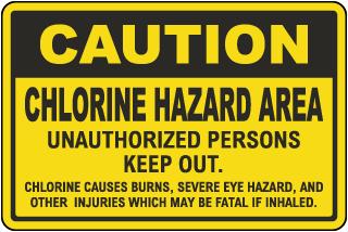 Caution Chlorine Hazard Area Sign