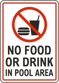 No Food Or Drink In Pool Area Sign