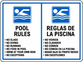 Bilingual Pool Rules Sign