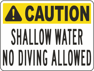 Arizona Shallow Water No Diving Sign