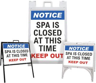 Notice Spa Is Closed Sandwich Board