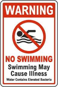 Warning No Swimming Sign