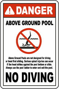 Danger Above Ground Pool No Diving Sign