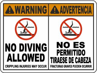 Bilingual Warning No Diving Allowed Sign